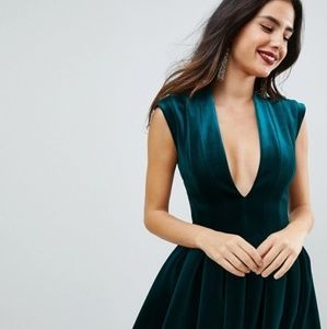 ASOS velvet green dress